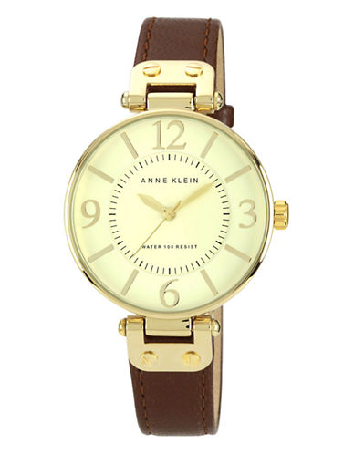 Anne Klein Gold Tone Large Brown Strap Watch-BROWN-One Size