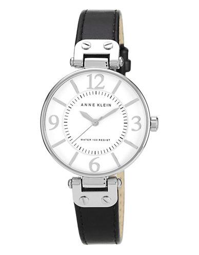 Anne Klein Silver Tone Large Black Strap Watch-BLACK-One Size
