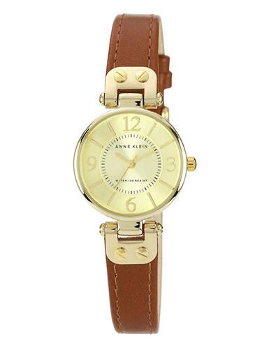 Anne Klein Gold Tone Round Brown Strap Watch-BROWN-One Size