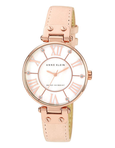 Anne Klein Rose Gold Tone Large Blush Strap Watch-ROSE GOLD-One Size