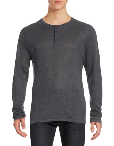 Toscano Linen Henley Top-CHARCOAL-X-Large
