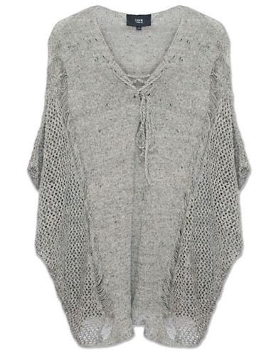Line Linen Laced-Neck Poncho-GREY-X-Small