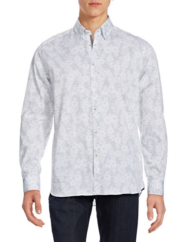 Ted Baker London Dotted Floral Sport Shirt-WHITE-7/XX-Large