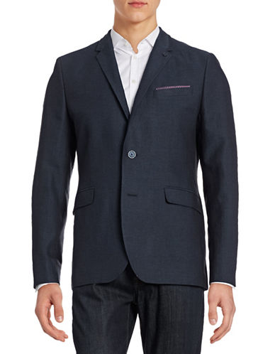 Ted Baker London Herringbone Cotton-Linen Sports Jacket-NAVY-7/46R