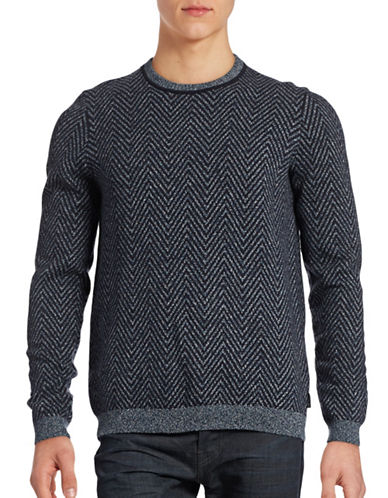 Ted Baker London Herringbone Cotton-Wool Blend Knit Sweater-NAVY-2/X-Small