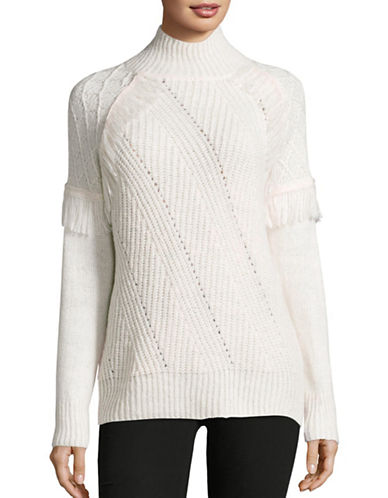 John & Jenn Hayley Fringe Turtleneck Sweater-WHITE-Medium