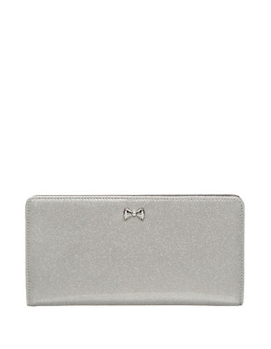 Ted Baker London Bow Glitter Popper Matinee Wallet-SILVER-One Size
