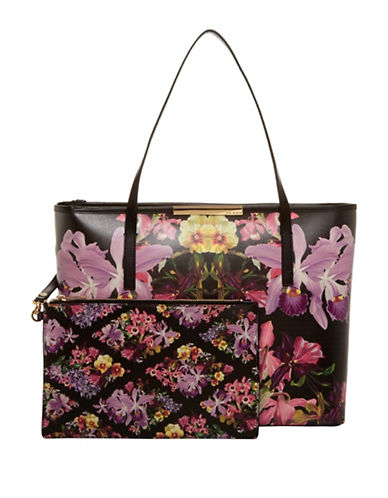 Ted Baker London Lost Gardens Leather Handbag-BLACK-One Size