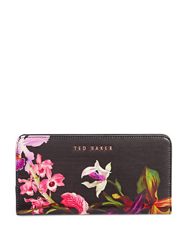 Ted Baker London Lost Gardens Popper Matinee Leather Wallet-BLACK-One Size