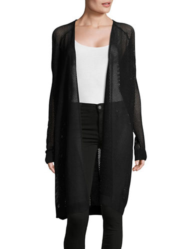 Line Long Sleeve Open Perforated Cardigan-BLACK-Small 88981386_BLACK_Small