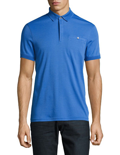 Ted Baker London Flat Knit Collar Polo-BLUE-6/X-Large