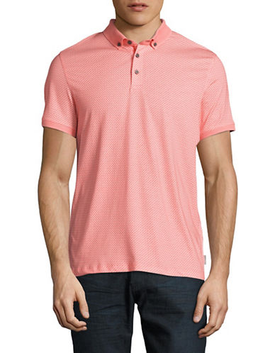Ted Baker London Rectangle Geo Print Polo-CORAL-3/Small