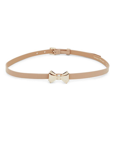 Ted Baker London Curved Leather Bow Belt-TAUPE-Small