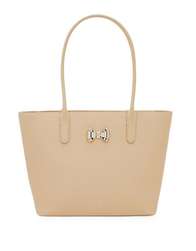 Ted Baker London Taleen Curved Bow Small Zip Leather Shopper-TAUPE-One Size