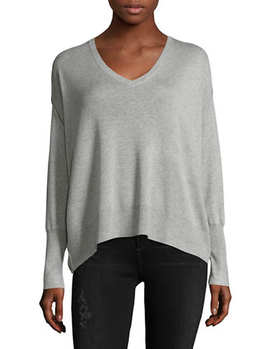 Line Morgan Ribbed V-Neck Sweater-GREY-Medium