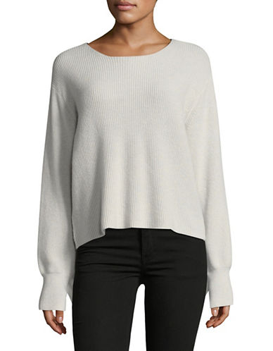 Line Ruffled Cashmere Sweater-GREY-Large