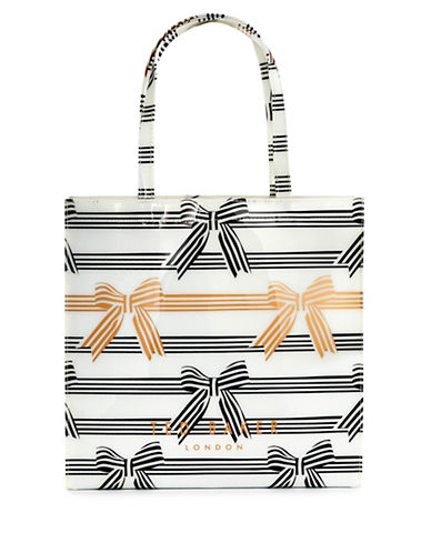 Ted Baker London Bow Stripe Large Icon Shopper Bag-ROSE GOLD-One Size