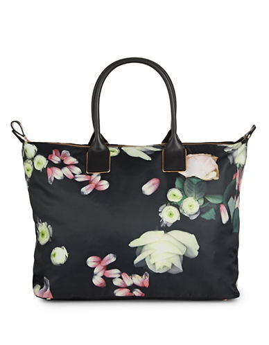 Ted Baker London Kensington Floral Large Nylon Tote Bag-BLACK-One Size