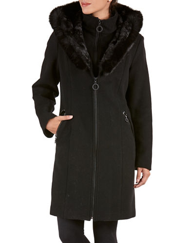 Bianca Nygard Long Fox Fur Trimmed Coat-BLACK-Small 88550289_BLACK_Small