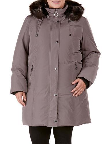 Bianca Nygard Plus Faux Fur Long Down Coat-GREY-2X