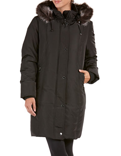 Bianca Nygard Long Down Coat with Decorative Belt-BLACK-X-Small