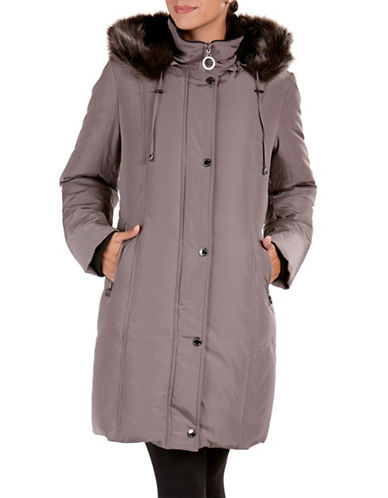 Bianca Nygard Long Down Coat with Decorative Belt-GREY-Medium