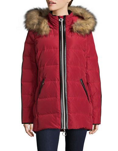 Bianca Nygard Sutton Down Parka with Faux Fur-RED-Medium
