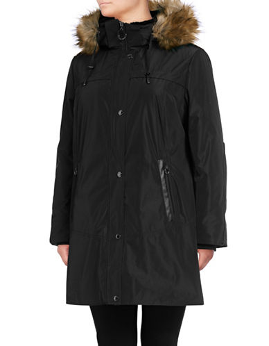 Bianca Nygard Sutton parka with faux fur trimmed hood-BLACK-1X