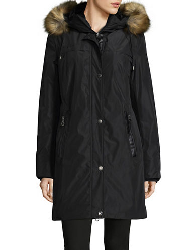 Bianca Nygard Sutton Parka with Faux Fur Trim-BLACK-Medium
