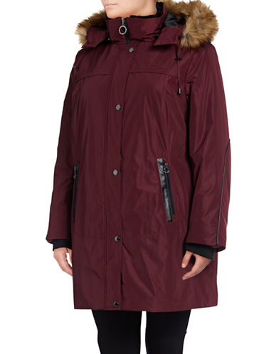 Bianca Nygard Sutton Parka with Faux Fur Trim-CABERNET-X-Large