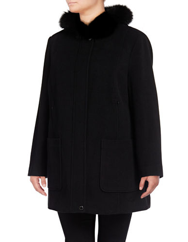 Bianca Nygard Wool-Cashmere Blend Coat with Fox Fur-BLACK-2X