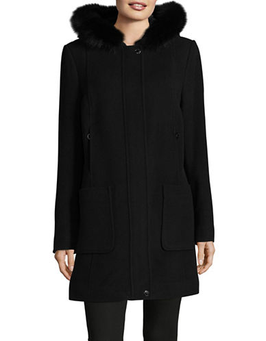 Bianca Nygard Wool-Cashmere Blend Coat with Fox Fur-BLACK-X-Large