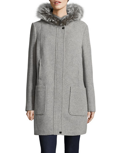 Bianca Nygard Wool-Cashmere Blend Coat with Fox Fur-LIGHT GREY-Small