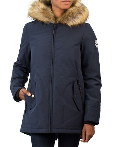 Arctic Expedition Faux Fur Trim Down Jacket-NAVY-Small