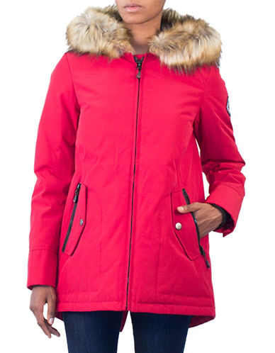 Arctic Expedition Faux Fur Trim Down Jacket-RED-Large