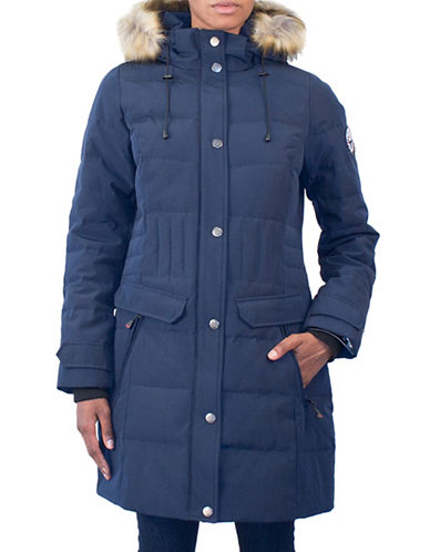 Arctic Expedition Faux Fur Detail Puffer Coat-NAVY-Medium