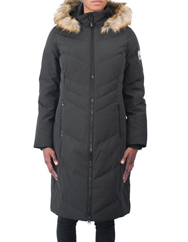 Arctic Expedition Faux Fur Trim Maxi Parka Coat-BLACK-2X