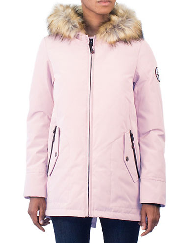 Arctic Expedition Faux Fur Trim Down Jacket-BLUSH-Small