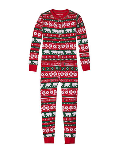 Little Blue House Beary Cotton Coverall-RED-8