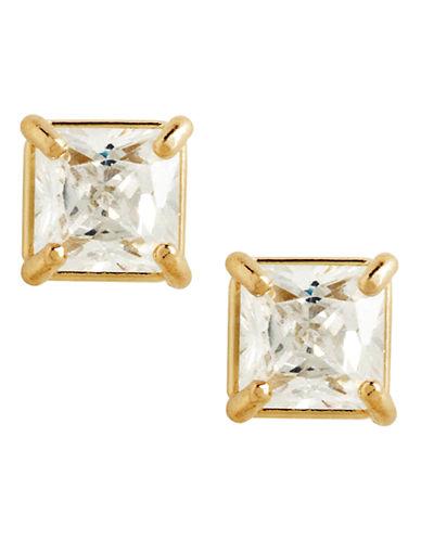 Fine Jewellery 14K Yellow Gold Square Cubic Zirconia Earrings-CUBIC ZIRCONIA-One Size