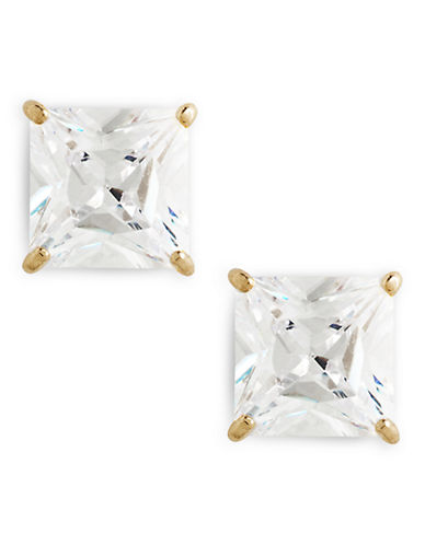 Fine Jewellery 14K Yellow Gold Square Cubic Zirconia Earrings-CUBIC ZIRCONIA-One Size