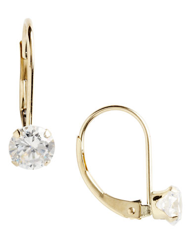 Fine Jewellery 14K Yellow Gold Cubic Zirconia Leverback Earrings-CUBIC ZIRCONIA-One Size