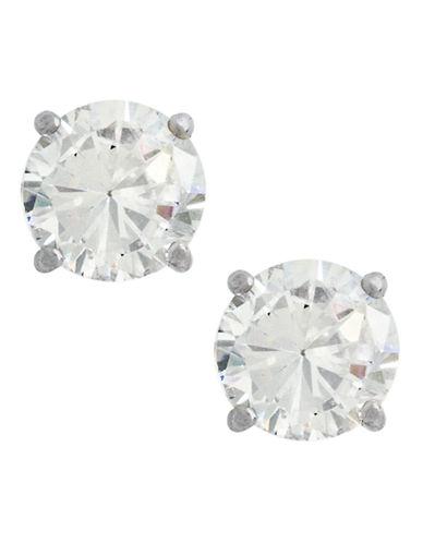 Fine Jewellery 14K White Gold Cubic Zirconia Earrings-CUBIC ZIRCONIA-One Size