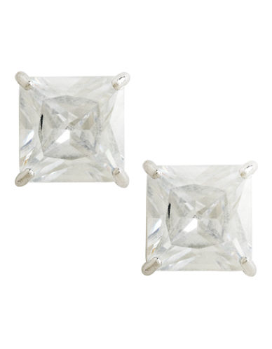 Fine Jewellery 14K White Gold Square Cubic Zirconia Earrings-CUBIC ZIRCONIA-One Size