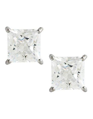 Fine Jewellery 14K White Gold Cubic Zirconia Square Earrings-CUBIC ZIRCONIA-One Size