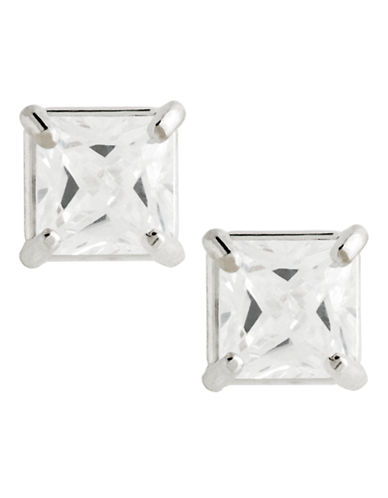 Fine Jewellery 14K White Gold Cubic Zirconia Square Cast Earrings-CUBIC ZIRCONIA-One Size