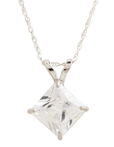 Fine Jewellery 14K White Gold Cubic Zirconia Square Pendant-CUBIC ZIRCONIA-One Size