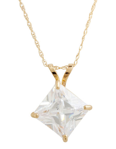 Fine Jewellery 14K Yellow Gold Cubic Zirconia Square Pendant-CUBIC ZRCONIA-One Size