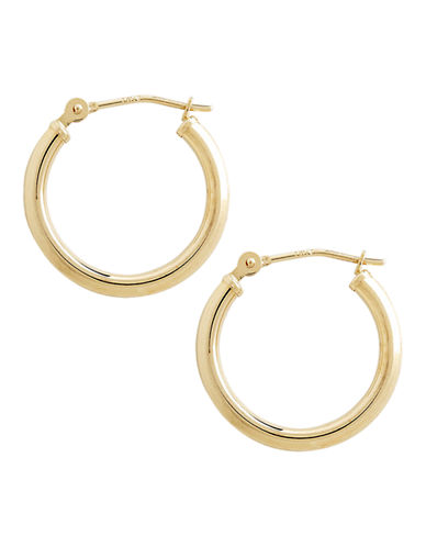 Fine Jewellery 14K Yellow Gold Polished Hollow Tube Hoop Earrings-YELLOW GOLD-One Size