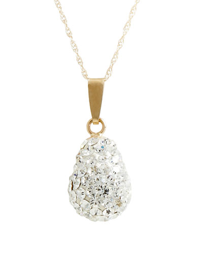 Fine Jewellery 14K Yellow Gold Crystal Teardrop Pendant-CRYSTAL-One Size